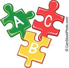 puzzle, abc, morceaux