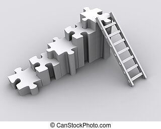 Puzzle and ladder - Conceptual puzzle and a ladder - 3d...
