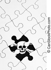 Puzzle and Pirate Flag, business concept