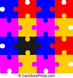 puzzle, arrière-plan noir, coloré