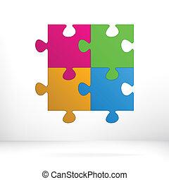 puzzle, astratto, illustrazione, eps8, +, concept.