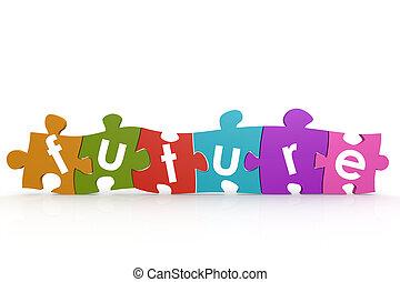 puzzle, avenir, mot, coloré
