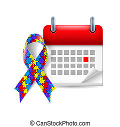 Puzzle awareness ribbon and calendar with marked day. Autism...