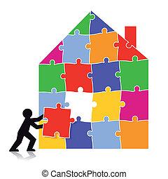 puzzle, bâtiment