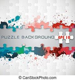 Puzzle background with splashes