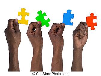 puzzle, besitz, mann, stücke