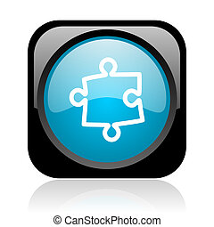 puzzle black and blue square web glossy icon