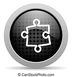 puzzle black circle web glossy icon