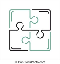 Puzzle blank template or cutting guidelines vector illustration.