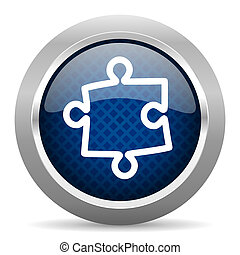 puzzle blue circle glossy web icon on white background, round button for internet and mobile app