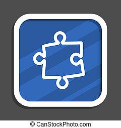 Puzzle blue flat design square web icon