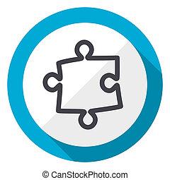 Puzzle blue flat design web icon