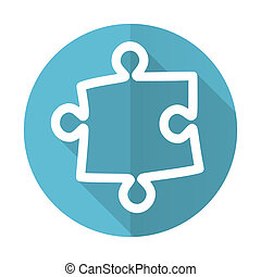 puzzle blue flat icon