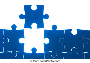 Puzzle blue isolated on white background