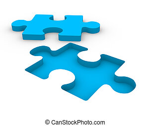 Puzzle blue on white background. This is a 3d render...