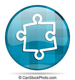 puzzle blue round modern design internet icon on white background