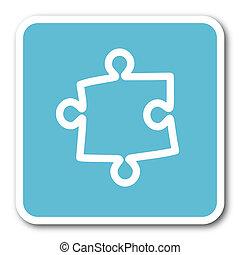 puzzle blue square internet flat design icon