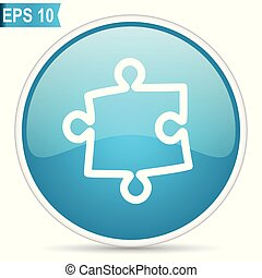 Puzzle blue vector icon