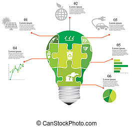 puzzle bulb - vector illustration of puzzle infographics by...