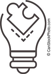 Puzzle bulb icon, outline style