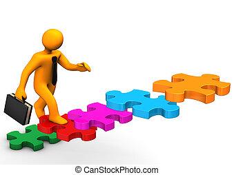 puzzle, business, escalier