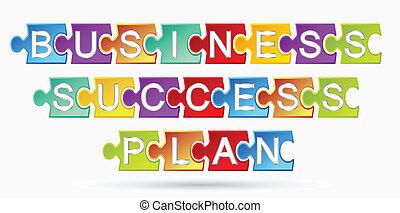 puzzle, business, reussite, plan