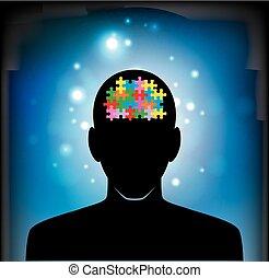 puzzle, cerveau