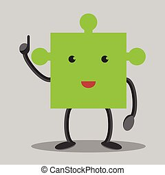 Green puzzle piece character in moment of insight. Solution, idea concept. EPS 10 vector illustration, no transparency