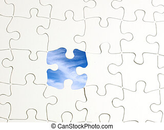puzzle, ciel, trou
