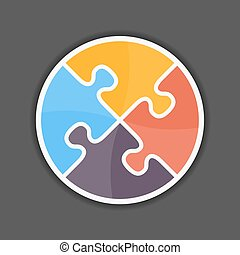 Puzzle Circle - Abstract puzzle circle icon, design element...
