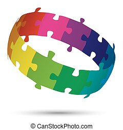 puzzle circle colored