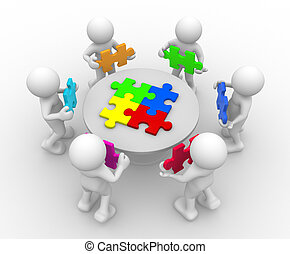 Puzzle - 3d people - human character , person in circle, a...