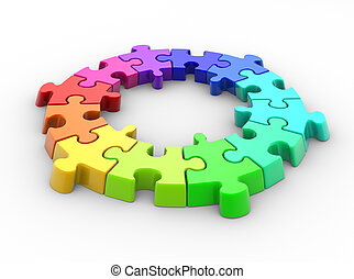 Puzzle - 3d piece of puzzle( jigsaw). 3d render