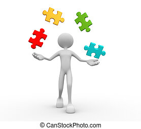Puzzle - 3d people - man, person juggle with pieces of...