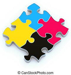 Puzzle CMYK flat paint - High resolution 3d render of an ...