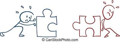 puzzle, collaboration, illustration