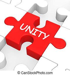 puzzle, collaboration, unité, collaboration, équipe, ou, ...