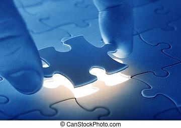 puzzle, collocazione, ultimo pezzo, mani