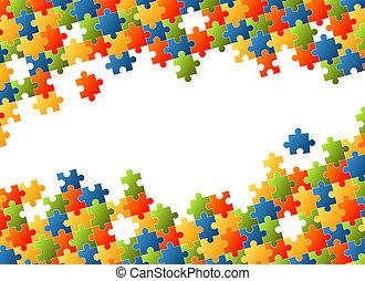 puzzle, coloré, fond, morceaux