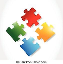 puzzle, colorito, illustrazione, pezzi