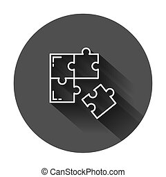 Puzzle compatible icon in flat style. Jigsaw agreement vector illustration on black round background with long shadow. Cooperation solution business concept.