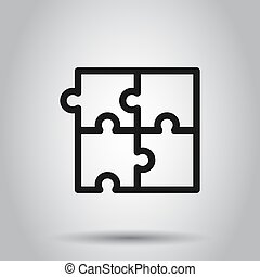 Puzzle compatible icon in flat style. Jigsaw agreement vector illustration on isolated background. Cooperation solution business concept.