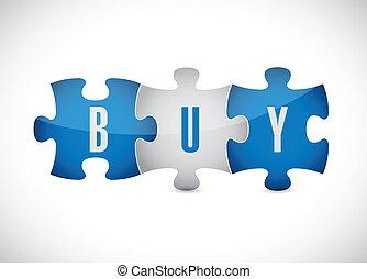 puzzle, comprare, disegno, illustrazione, pezzi