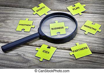 puzzle, con, parola, affari