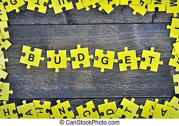 puzzle, con, parola, budget
