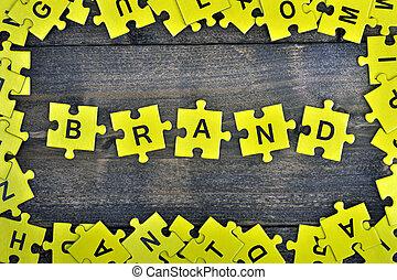 puzzle, con, parola, marca