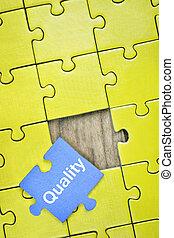 puzzle, con, parola, qualità