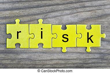 puzzle, con, parola, rischio
