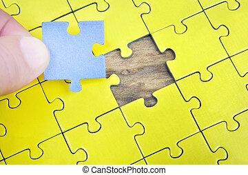 puzzle, con, vuoto, pezzo