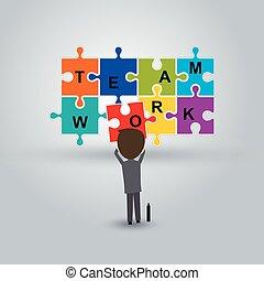 puzzle, concept, collaboration, homme affaires